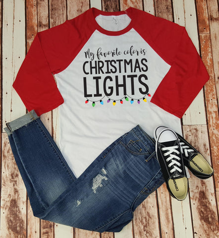 My Favorite Color is Christmas Lights - Baseball Tee