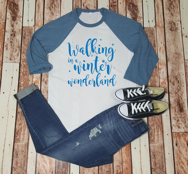 Walking in a Winter Wonderland - Baseball Tee
