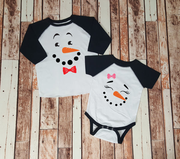 Little Boy or Girl Snowman Face - Kids Set