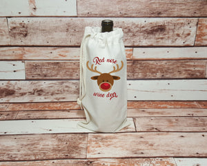 Christmas Drawstring Wine Bag