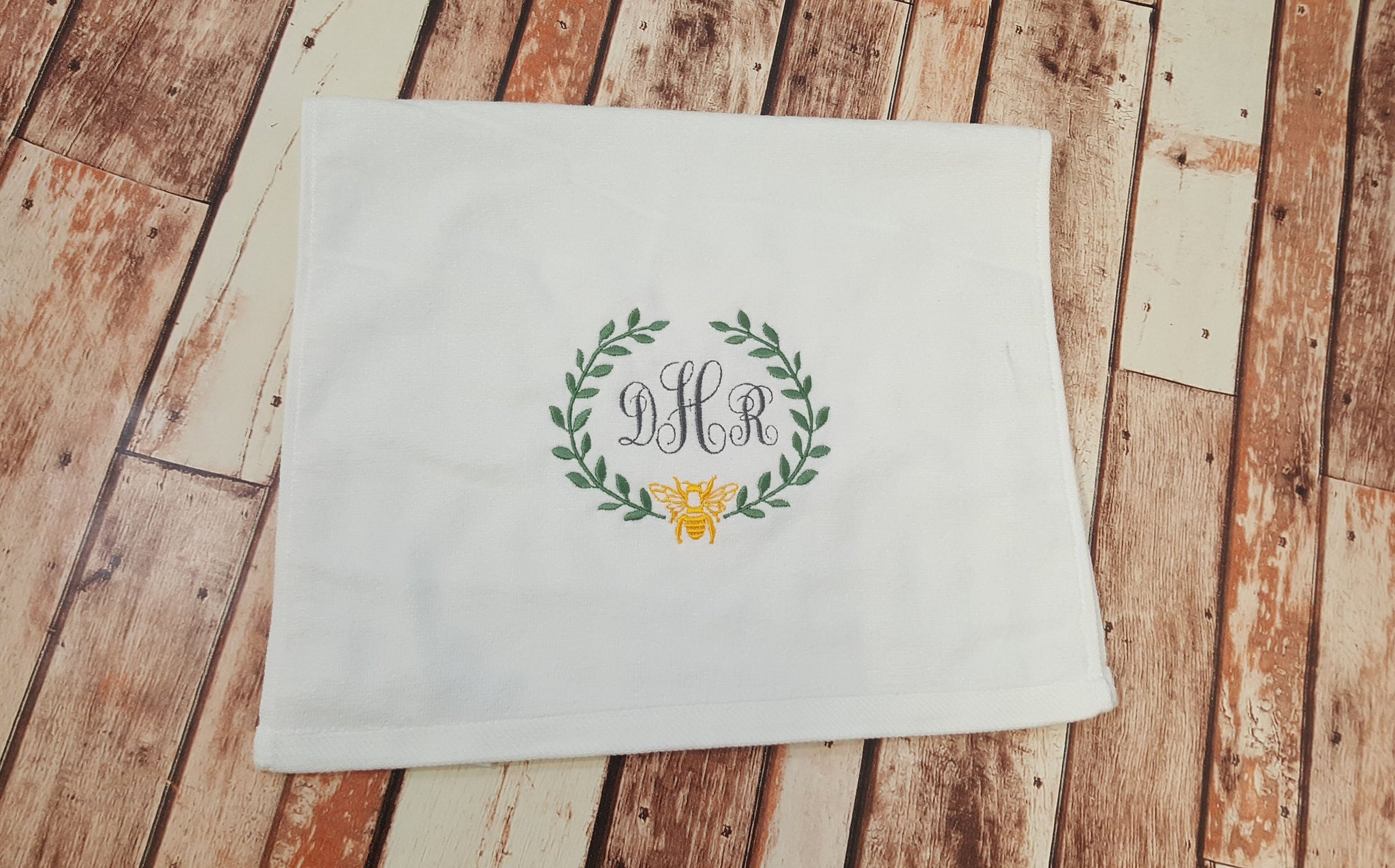 French Bee Monogram Hand Towel