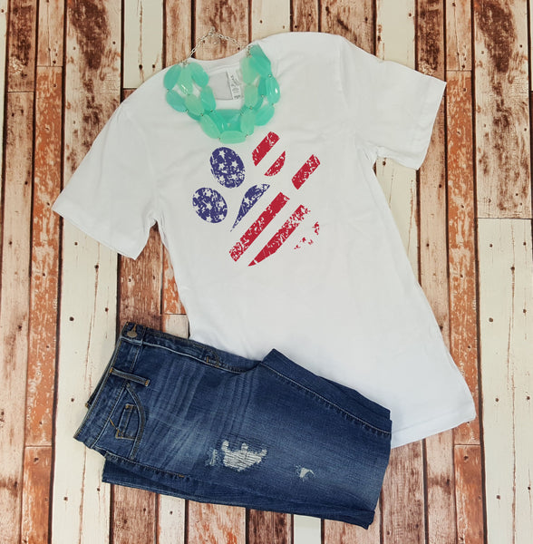 Paw Print Distressed Flag