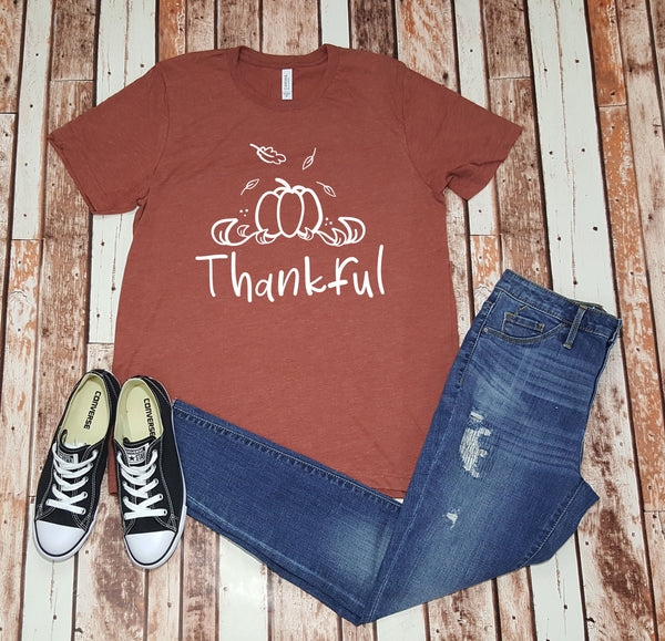 Thankful, Fall Pumpkins & Give Thanks Shirt