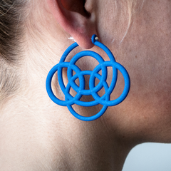 Blue 3d printed earrings