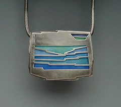 Enamel Pendant with shades of blue
