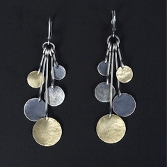 Silver, gold, and oxidized discs earrings
