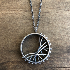 Sterling Silver Circular Pendant with lines