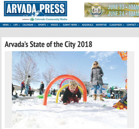Arvada Press: A mention by the Arvada Mayor in his State of the City address
