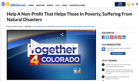 CBS 4: Coverage about one of our nonprofit events