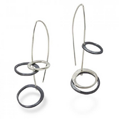 Asymmetrical Silver Circles Earrings