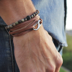 leather multi-stand bracelet
