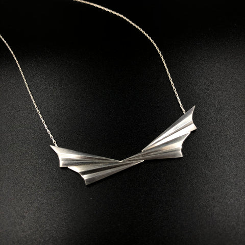 Pleated Collar Necklace - Silver