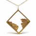 Gold square pendant with raw edges inside