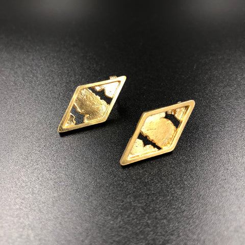 Gold plated diamond shaped studs