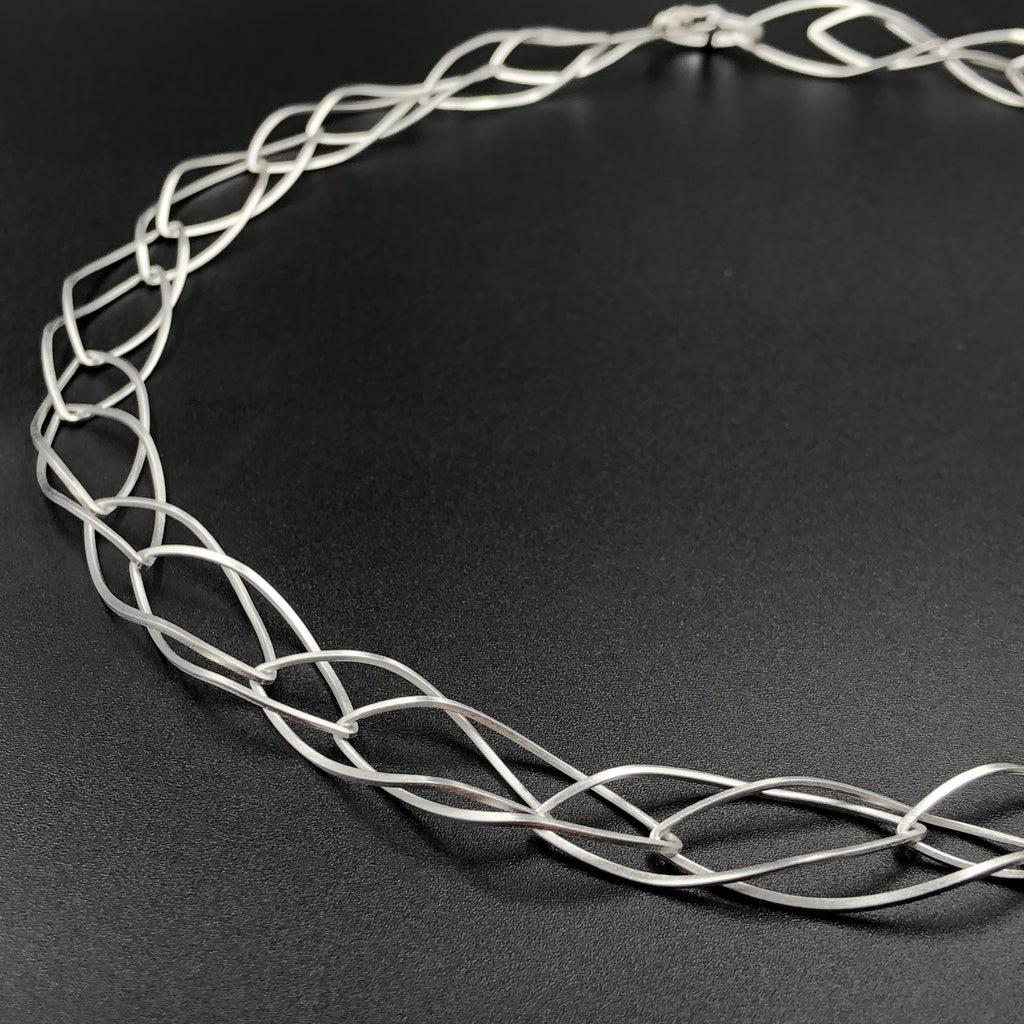 Double Curved Ellipse Necklace