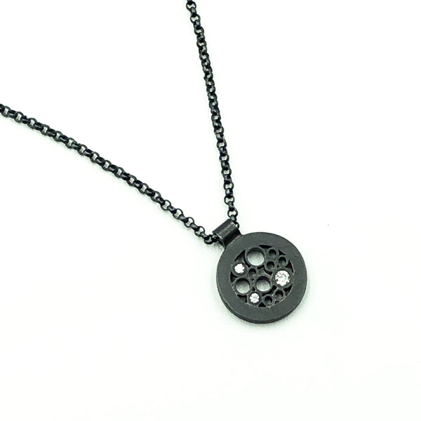 Small Oxidized Circle Pendant