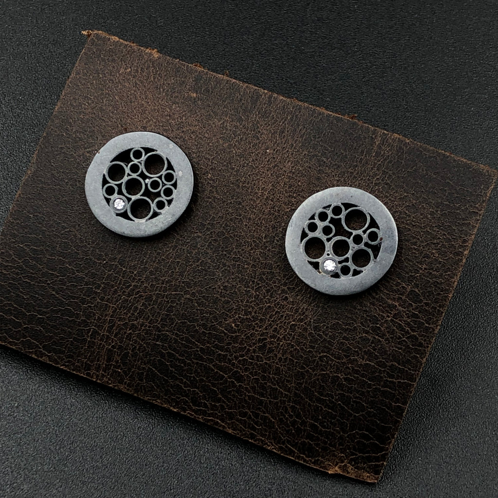 Elegant modern Small Oxidized sterling silver Circle Post Earrings with recycled diamonds. Birthstone and anniversary jewelry