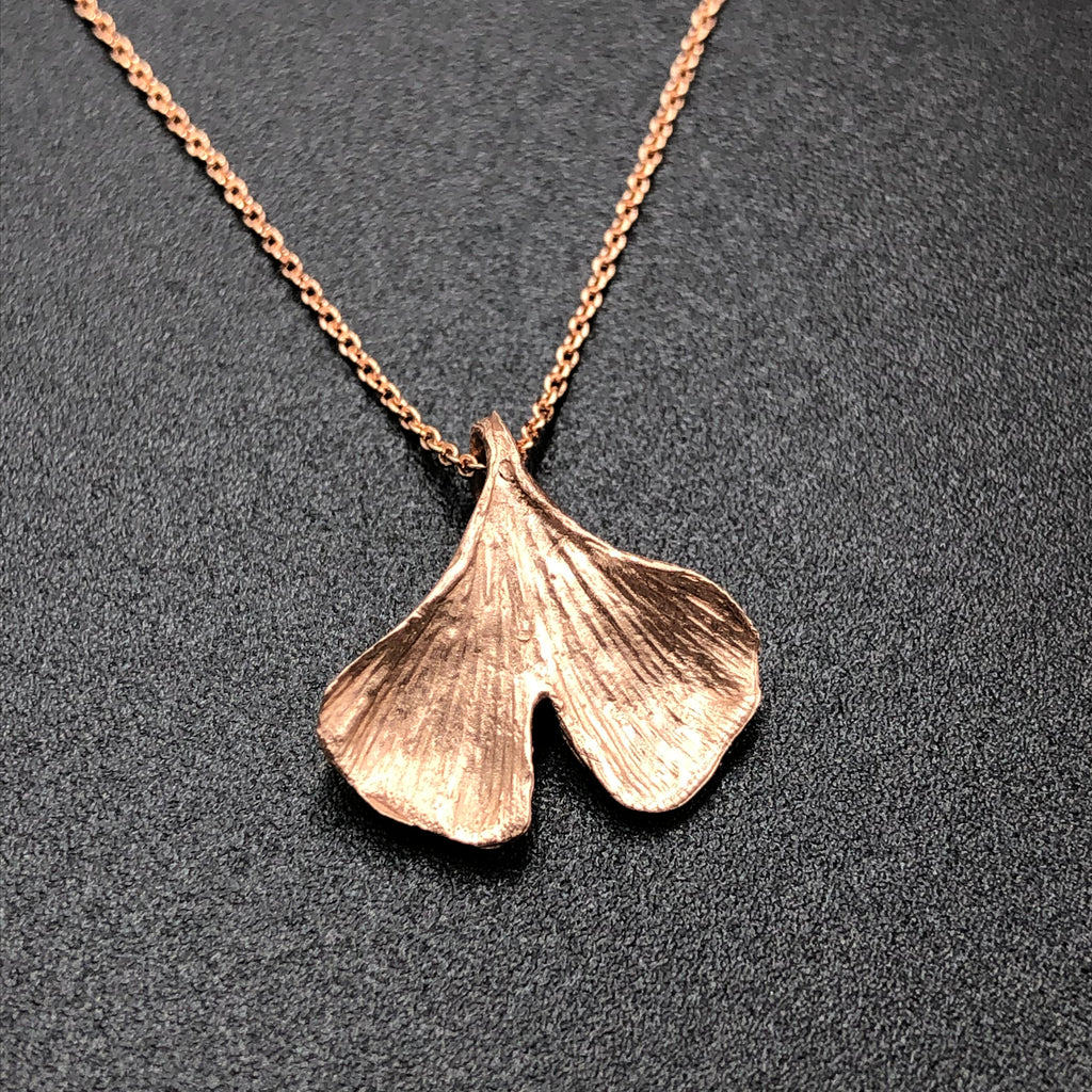 Gingko Leaf Necklace - Rose Gold