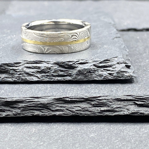 Damascus Steel Ring - SuperNova with Inlay