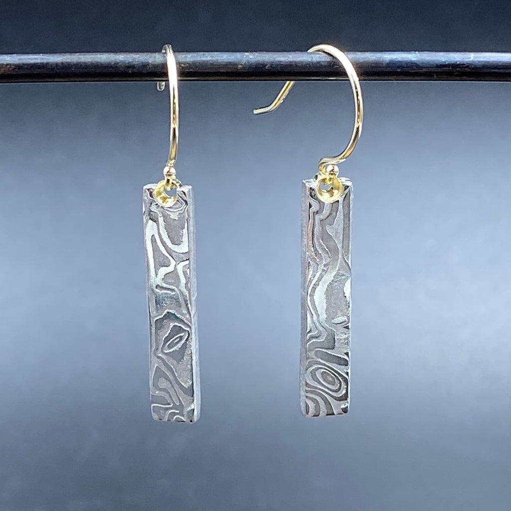 Damascus and Gold Dangle Earrings