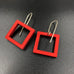 Square Earrings - Red