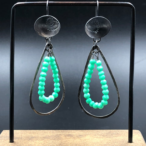 Oval Earrings w/ Chrysoprase Teardrops
