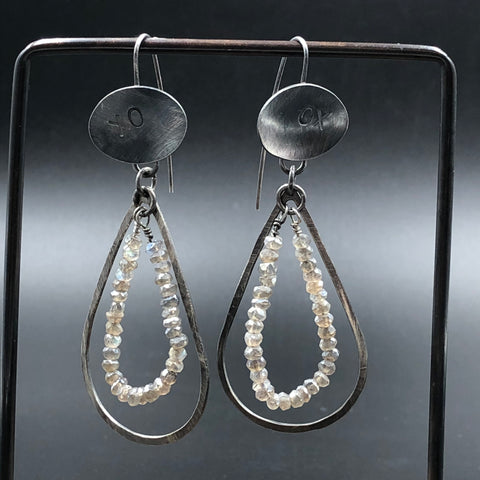 Oval Earrings w/ Smoky Quartz Teardrops