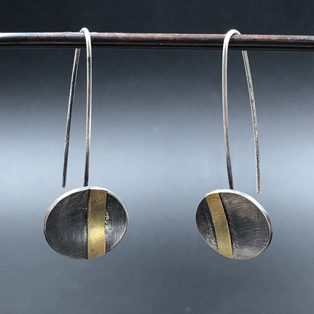Oval Drop Gold Stripe Earrings