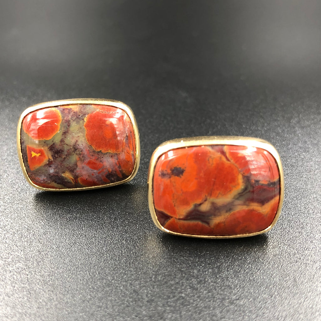Brecciated Jasper and 14K Cuff Links