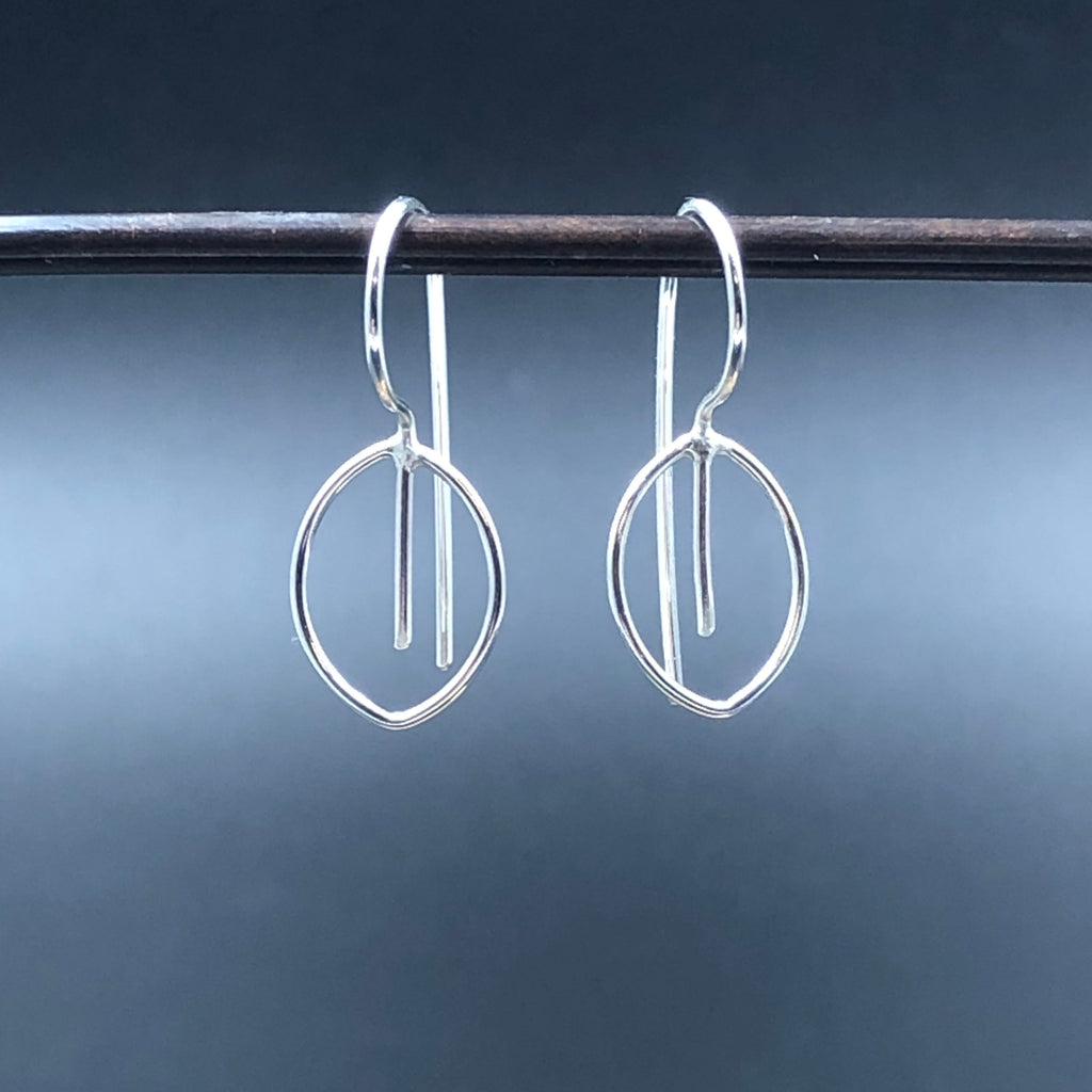 Small Wire Leaf Hook Earrings