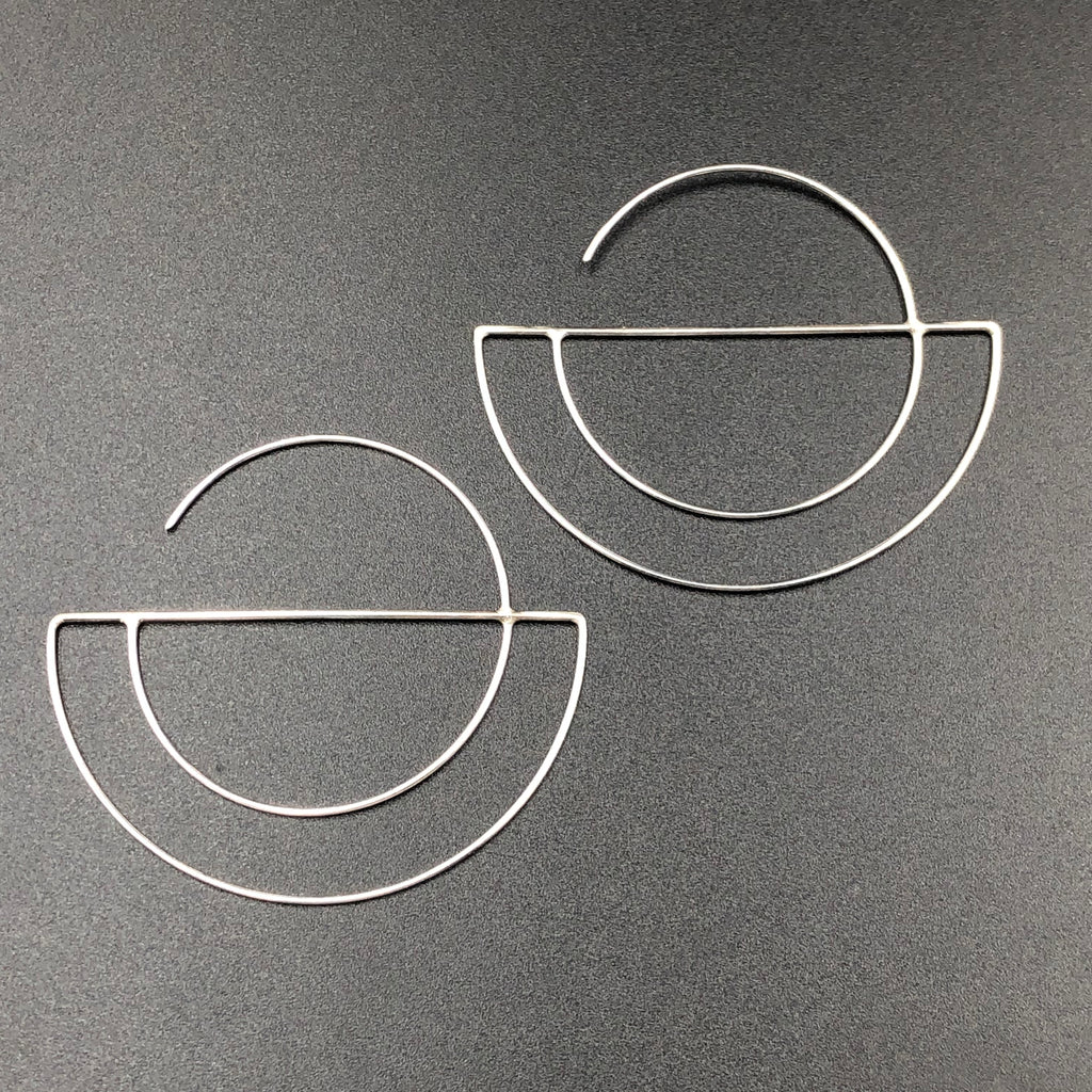 Double Crescent Hoop Earrings