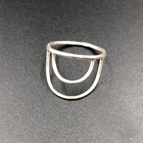 Horizontal Double Crescent Ring