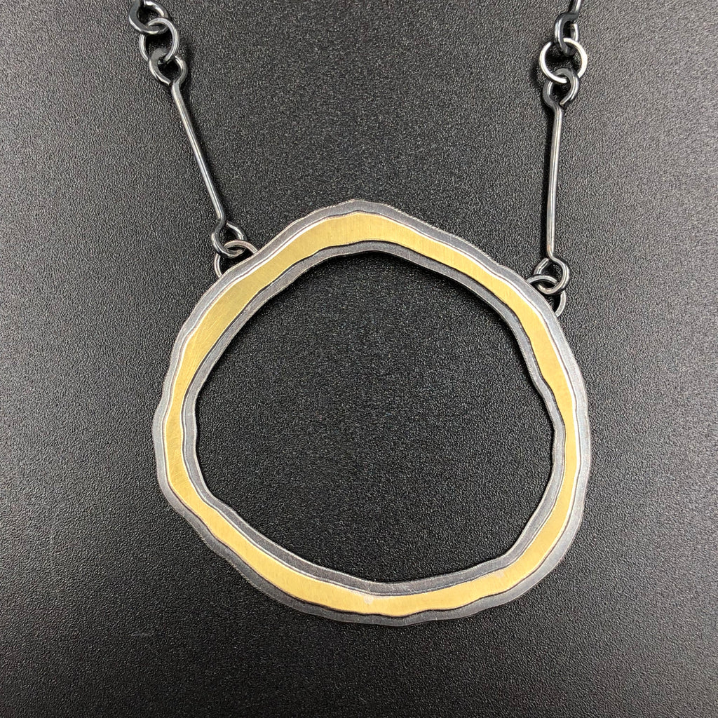 Rough Cut Double Circle Necklace