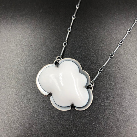 White Cloud Enameled Necklace