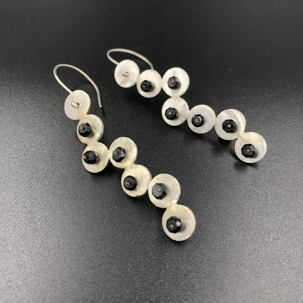 Spinel and Sterling Circles Earrings