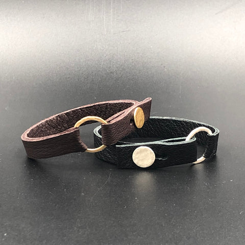 Pull-Through Ring Leather Bracelets