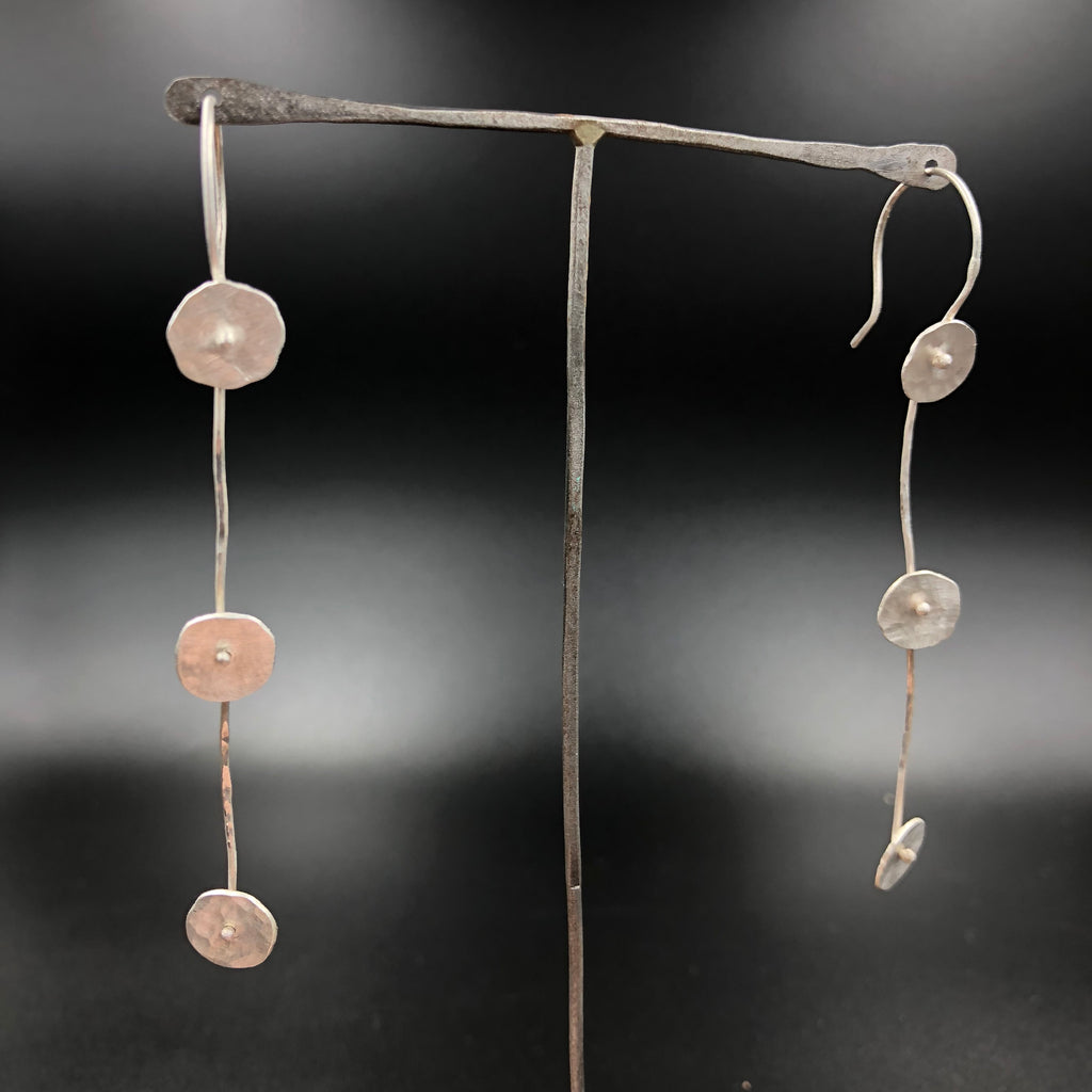 Hammered Disc Drop Earrings