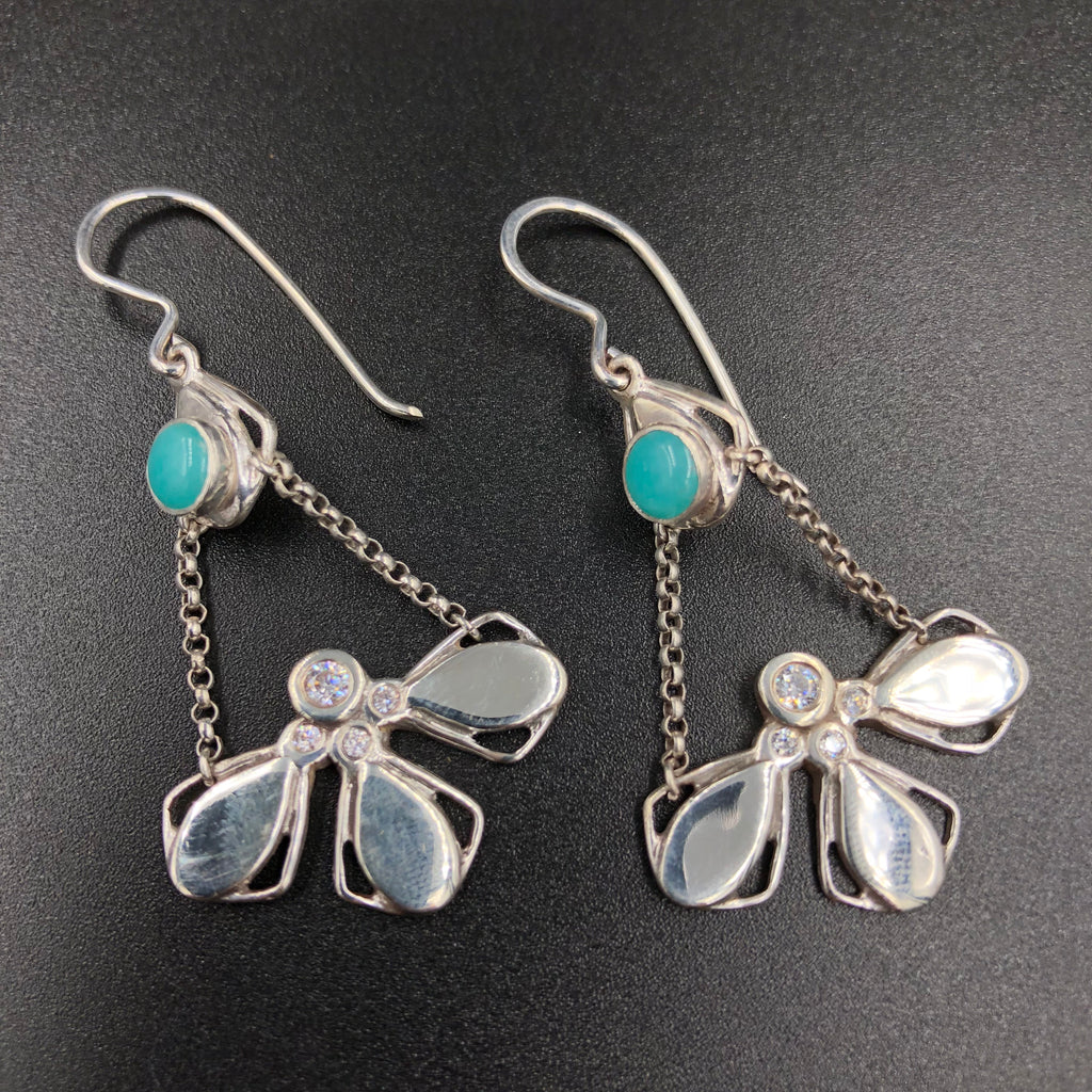 Celestia Earrings with Amazonite and CZs