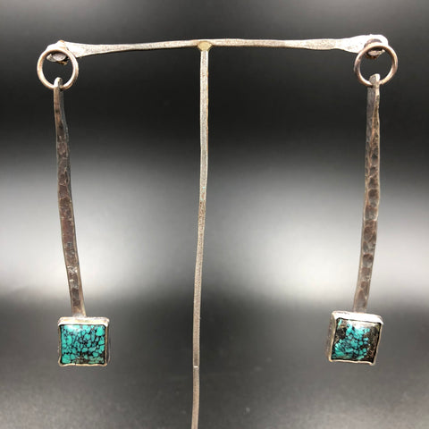 Blue Spider Web Turquoise Earrings