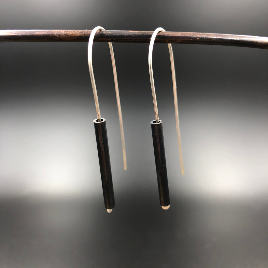 Blackened Copper Tube Earrings