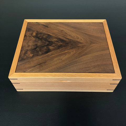Large Rectangular Jewelry Box: Walnut & Pine