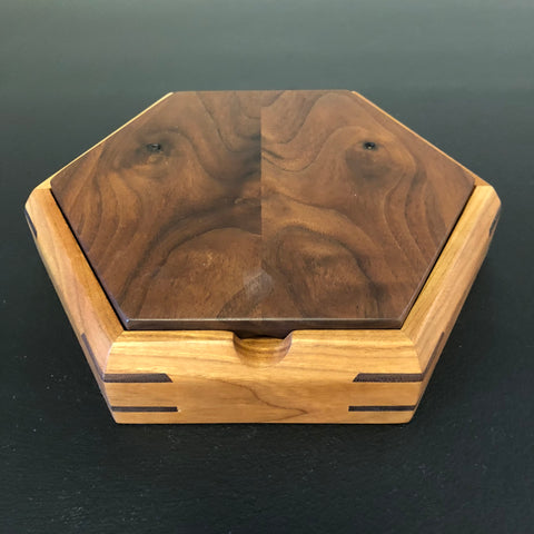 Smaller Hexagon Jewlery Box: Walnut & Cherry