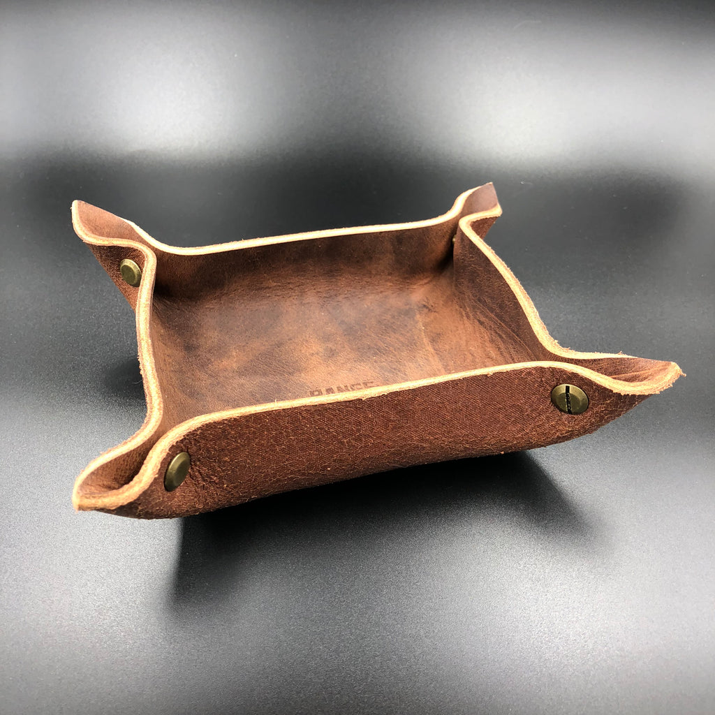 Vermillion Leather Tray - Small