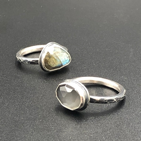 Hammered Stone Stacker Rings
