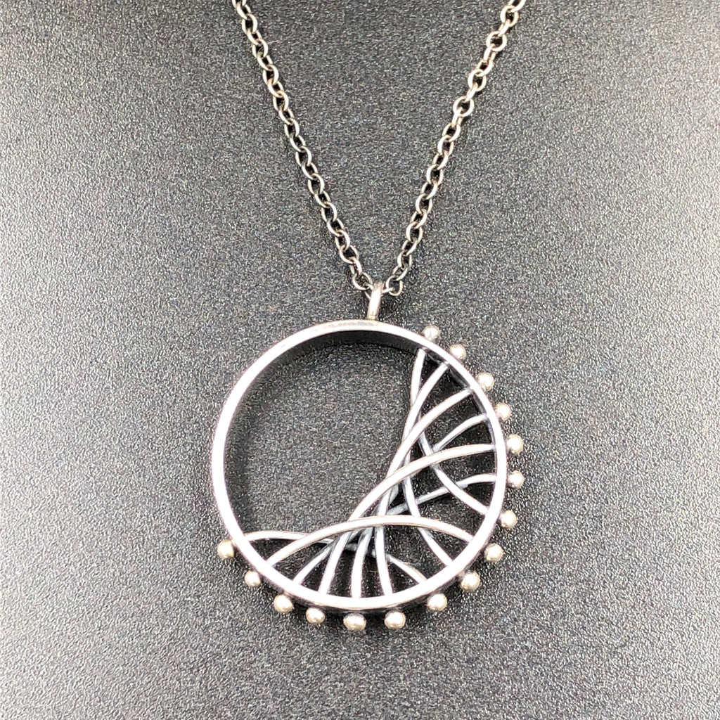 Diagonal Circle Arc Necklace - Small