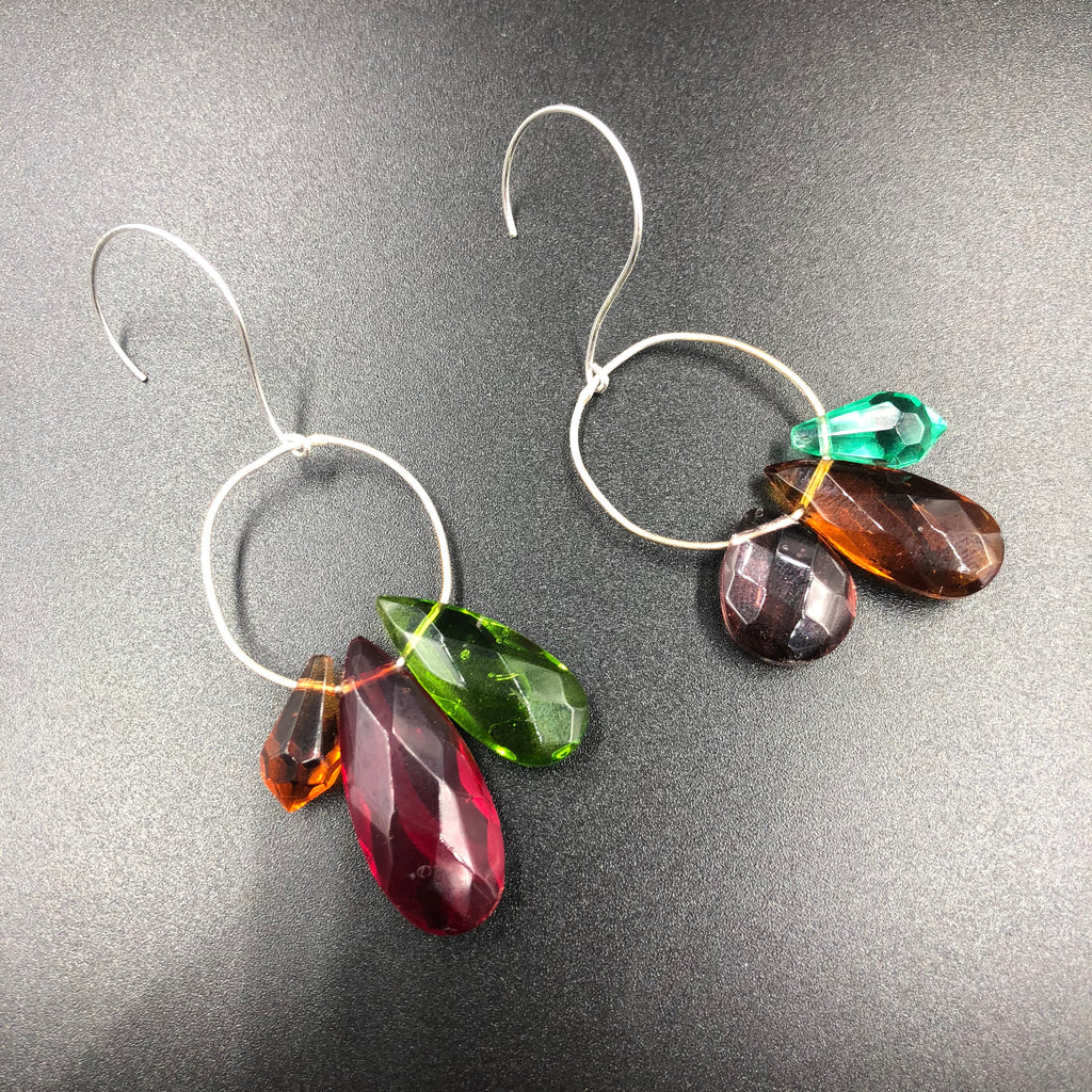 Asymmetrical Glass Bead Earrings