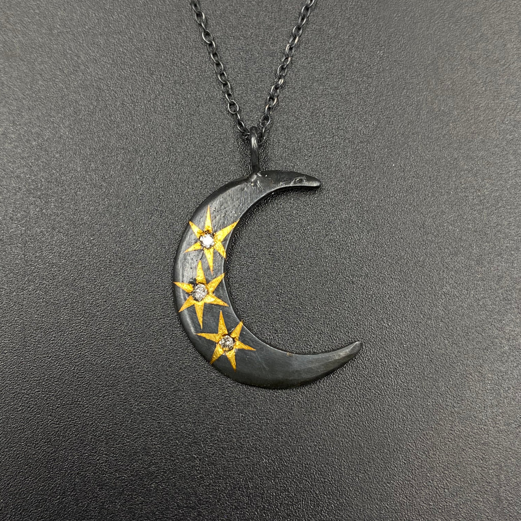 Planetary moon necklace with 3 24 karat stars and flush set diamonds