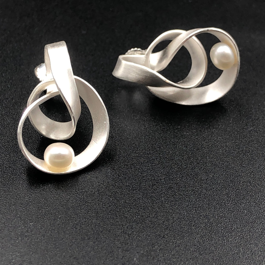 Elongated Swirl Post Earrings with Pearl