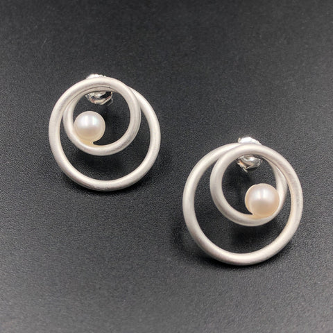 Double Wrap Post Earrings with Pearls