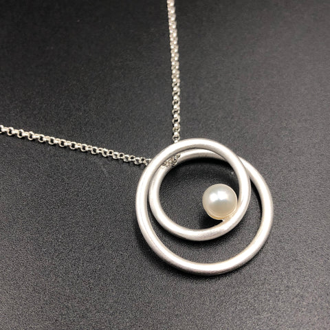 Double Wrap Pendant with Pearl